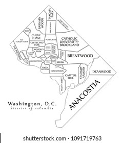Modern City Map - Washington DC city of the USA with neighborhoods and titles outline map