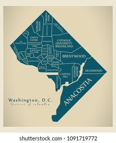 Modern City Map - Washington DC city of the USA with neighborhoods and titles