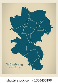 Modern City Map - Wurzburg city of Germany with boroughs DE