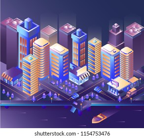 Modern city night isometry vector illustration. Illustration of a night city and a motor boat on the sea. Cityscape 3d background. Skyscrapers at night. Skyline scene. Landscape smart megapolis.