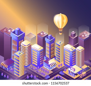 Modern city night isometry vector illustration. Illustration of a balloon flying over the city. Cityscape 3d background. Skyscrapers at night. Skyline scene. Landscape smart megapolis.