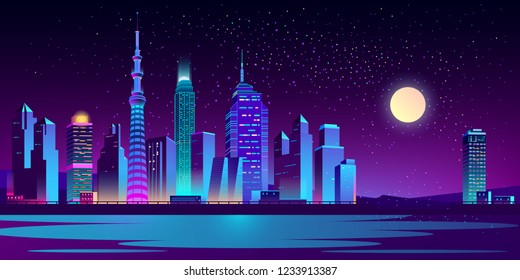 Modern city night landscape cartoon vector with illuminated neon light skyscrapers on riverbank or sea shore illustration. Futuristic cityscape in moon light. Metropolis new district. Urban background