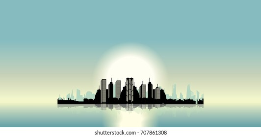 modern city on the island vector illustration sunrise and cityscape with reflection on  the water