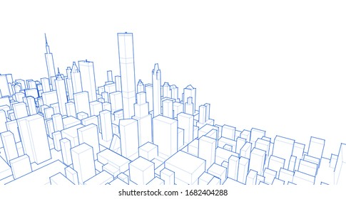 modern city panorama 3d illustration