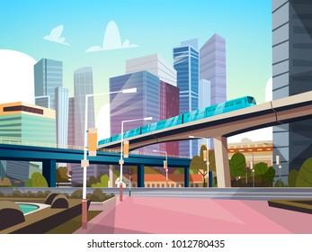 Современная панорама города с высокими небоскребами и метро городской фон плоский векторный иллюстрация