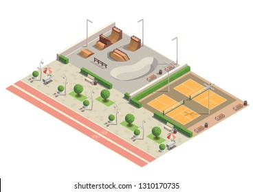 Modern city park recreational sport environment for skateboarding inline skating cycling playing tennis isometric composition vector illustration