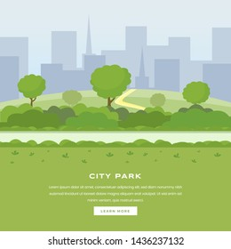 Modern city park vector landing page. Green trees and bushes walkway, skyscrapers cityspace, outdoor leisure on nature public area. Recreational urban park, botanical garden color website homepage