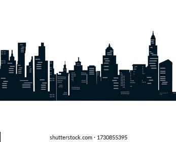 Modern city silhouette night mode transparent background