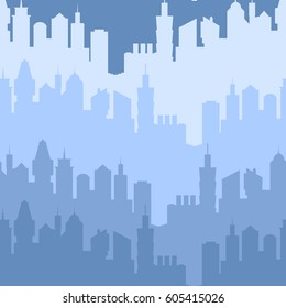 Modern city silhouette seamless pattern. Vector illustration for urban design. Building construction wallpaper. Art town element with skyscraper street panorama. Cityscape pattern set Blue night color