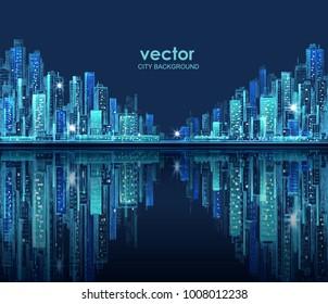 Modern City skyline hand drawn, vector illustration