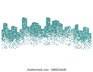 Modern city skyline life abstract background design with square design concept. City skyscraper silhouette. Vector illustration in flat design