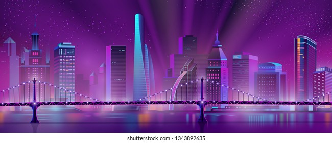 Modern city skyline neon color cartoon vector with illuminated skyscrapers in downtown, suspension bridge over river or bay and projector lights in starry sky illustration. Metropolis night landscape