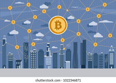 Modern City skyline at night and Bitcoin network on blue background