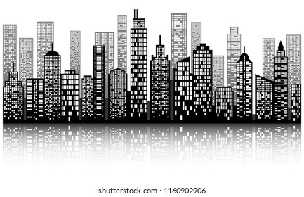 Modern city skyline with shadow, city building silhouette in night time, for flat design. Vector illustration.
