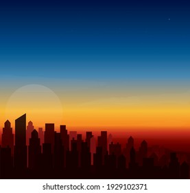modern city skyline sunset  landscape backgrounds vector illustration EPS10