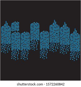 Modern City skyline vector illustration, isolated on black background