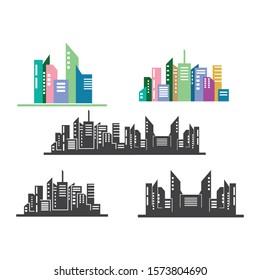 modern city skyline vector landscape illustration design