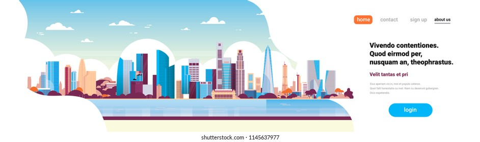 modern city skyscraper panorama view cityscape background skyline flat horizontal banner copy space vector illustration