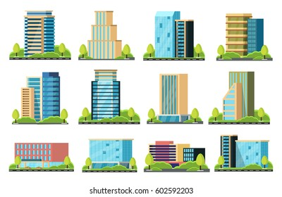 A modern city with skyscrapers. Urban buildings near the road, street landscape. Vector illustration
