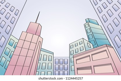Modern city with skyscrapers. View from below. Inclined perspective. Original hand drawn illustration.