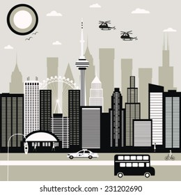Modern City street in black and white colors. Vector
