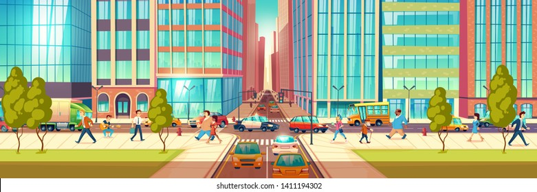 Modern city street at hour rush cartoon vector concept. People hurrying in business, townsfolk walking sidewalk, pedestrians passing crossroads, cars ride on road, stuck in traffic jam illustration