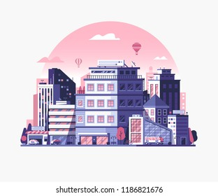 Modern city street landscape with skyscrapers, office buildings and transport. Urban cityscape with business center district in flat design. Abstract metropolis skyline banner for real estate agency.
