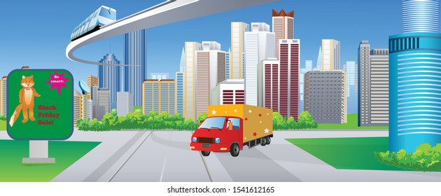 Tall City Delivery >> Delivery Truck City Images Stock Photos Vectors