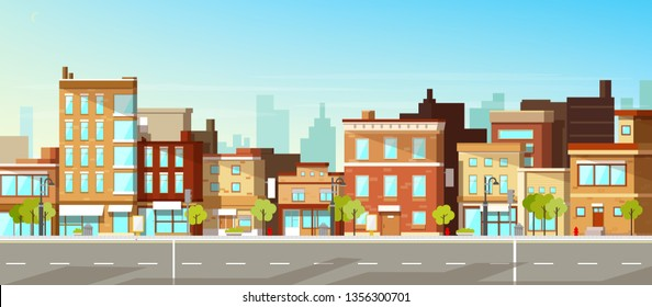 f122892910dd Modern city, town street flat vector with low-rise houses, commercial,  public