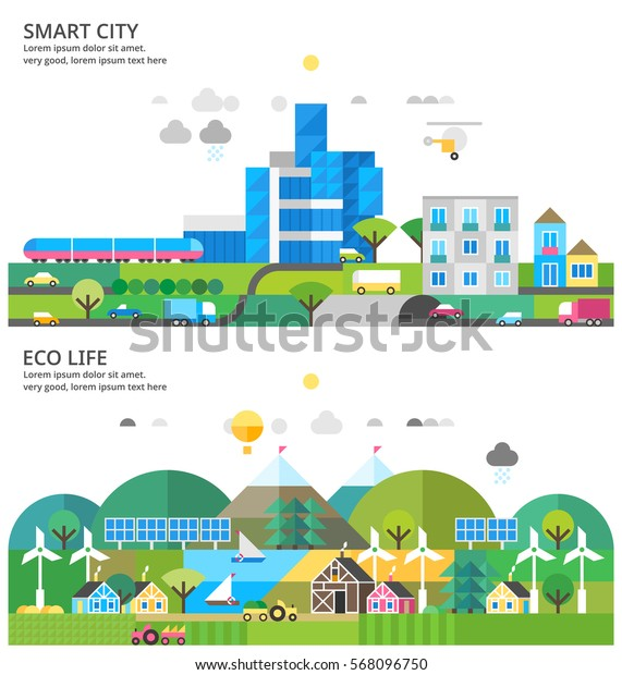 Modern city. Transport connection. Environmental city. Rural life. Renewable energy. Rural landscape. Ecosystem.