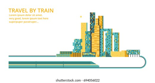 Modern city. Urban landscape. Downtown with skyscrapers and railway. Vector illustration.