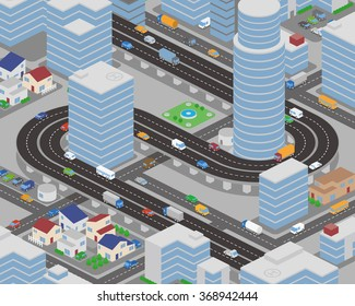 modern city and various vehicles, building and overhead roads, vector illustration