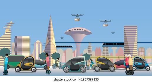 Modern city view. Renewable electrified city transports. Vehicles, autonomous public transport. Drones for light deliveries. Vector Illustration.