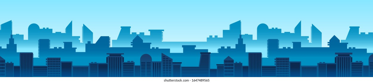 Modern cityscape horizontal background. Blue urban scenery with skyscrapers flat vector illustration