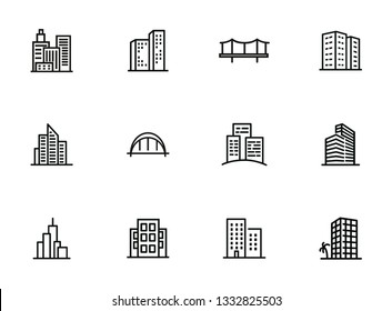 Modern cityscape line icon set. Building, house, skyscraper. Architectrure concept. Vector illustration can be used for topics like consctruction, design, building