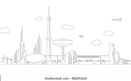 modern cityscape panorama view, futuristic buildings and transportation, design template, line drawing illustration