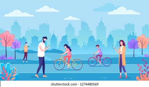 Modern cityscape with people and mobile technology vector illustration
