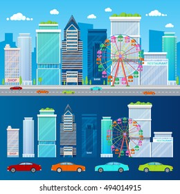 Modern Cityscape with Skyscrapers Ferris Wheel and Cars. Vector background