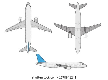 Modern civil commercial aviation airplane above below side view aircraft jet vector illustration isolated line contour
