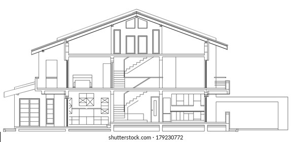 Modern Classic American House Facade Section Architectural Blueprint