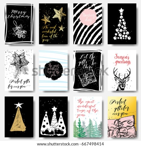 modern and classic creative christmas cards in black gold and white calligraphy set
