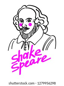 Modern classical Portrait Shakespeare. T-Shirt Design & Printing, clothes, bags, posters, invitations, cards, leaflets. Vector illustration hand drawn.