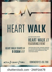 Modern and classy flyer or poster template design layout to promote a heart walk fundraiser