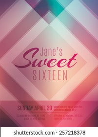 Modern and classy Sweet Sixteen birthday party invitation template