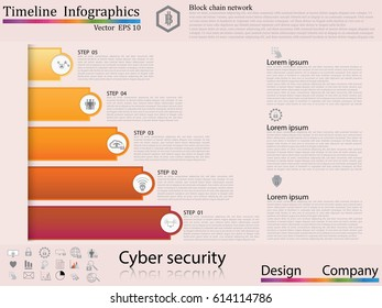 Modern clean business circle origami style timeline banner. Vector. can be used for workflow layout, diagram, number step up options, web design,timeline infographics,cyber security concept,icon set