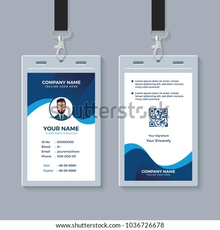 modern clean id card template stock vector royalty free 1036726678