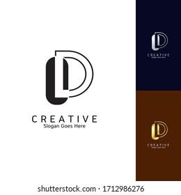 Modern Clean Logo Letter D Negative Space Vector Design for Brand Identity