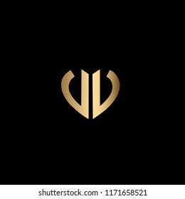 Modern , Clean and Minimal Heart Shaped Letter V or Letter VV Initial Based Iconic Logo Design
