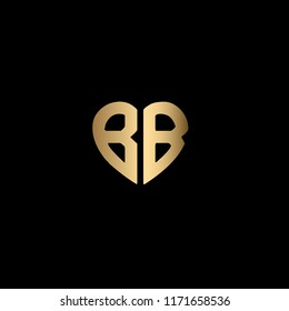 Modern , Clean and Minimal Heart Shaped Letter B or Letter BB Initial Based Iconic Logo Design