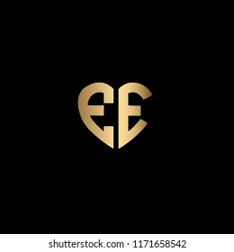 Modern , Clean and Minimal Heart Shaped Letter E or Letter EE Initial Based Iconic Logo Design